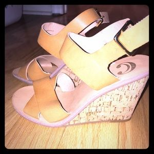 Shoes - Tan wedges.
